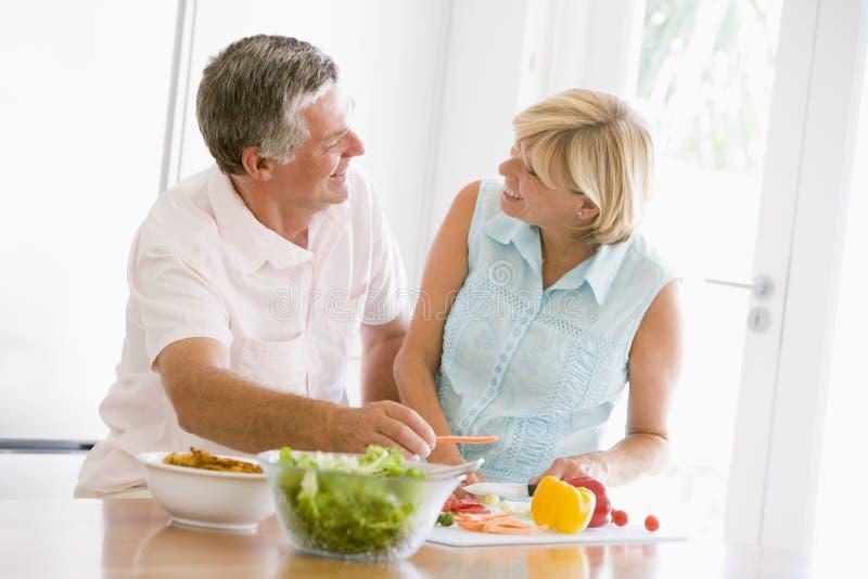 husband meal mealtime preparing together wife στοκ εικόνες