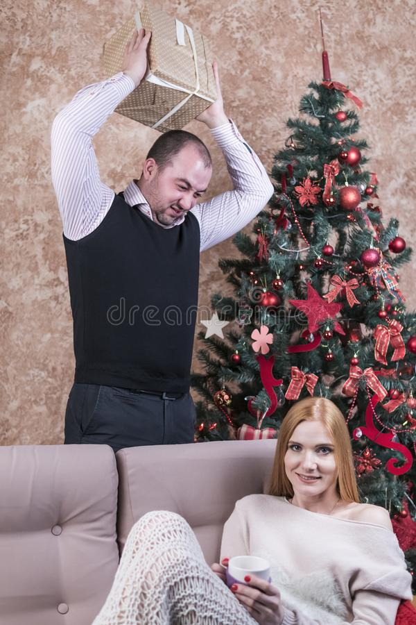 Husband jokes with the wife stock images