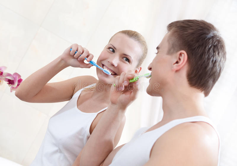 Download Husband And Wife Brush Teeth Stock Image - Image: 26218645
