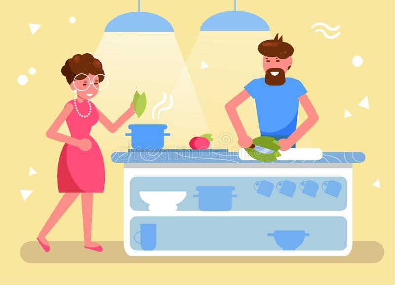 Husband and wife cook together in the kitchen Vector. Cartoon. Isolated art. Flat vector illustration