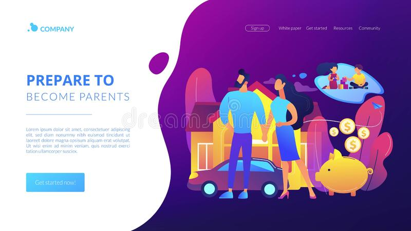 Family planning concept landing page. Husband and wife, couple dreaming about children. Traditional values. Family planning, family health services, prepare to stock illustration