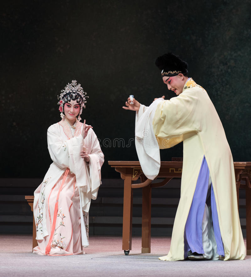 """Husband and wife drinking-The third act Dragon Boat Festival-Kunqu Opera""""Madame White Snake"""". Legend of the White Snake is one of the most famous stock photography"""