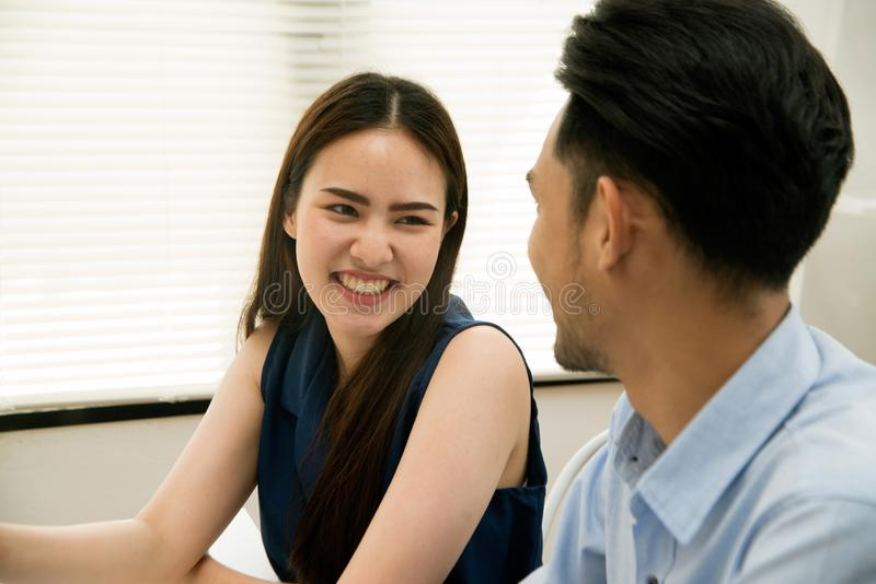 Husband and wife are happy to discuss business successfully. royalty free stock photos