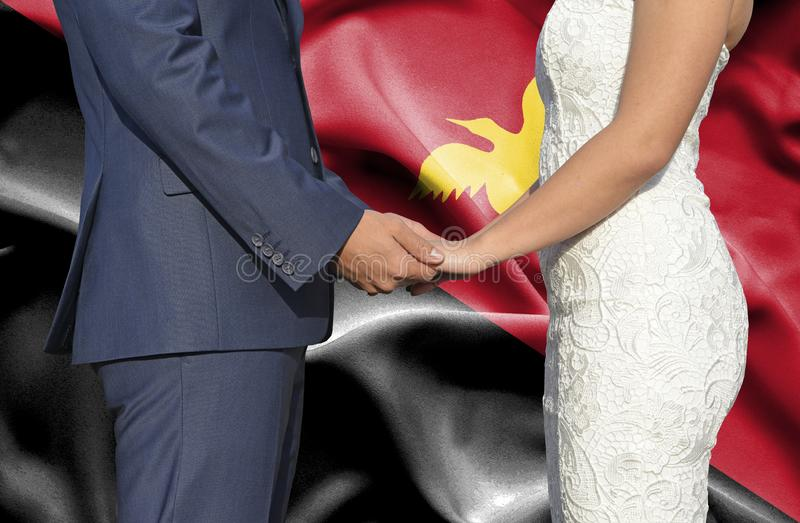 Husband and Wife holding hands - Conceptual photograph of marriage in Papua New Guinea stock photos