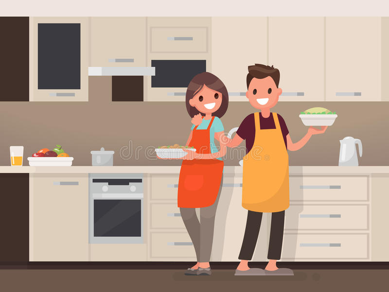 Husband and wife are preparing together. Man and woman in the kitchen. Vector illustration stock illustration