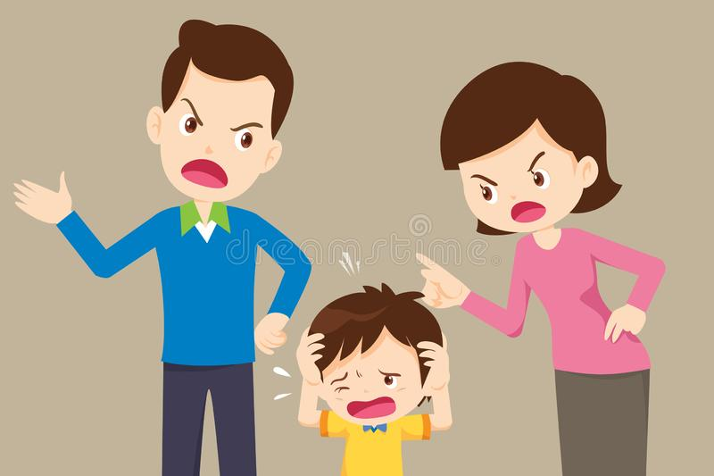 Angry dad and mom quarreling with sad son royalty free illustration