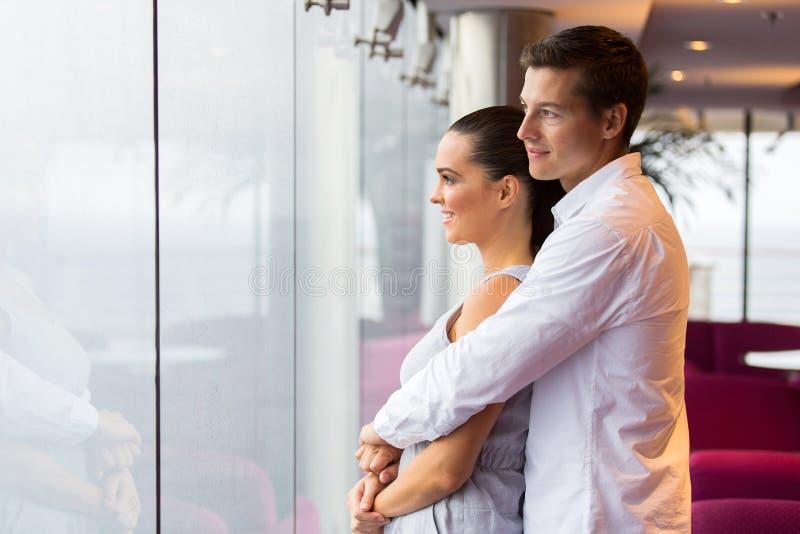Husband wife window royalty free stock photography