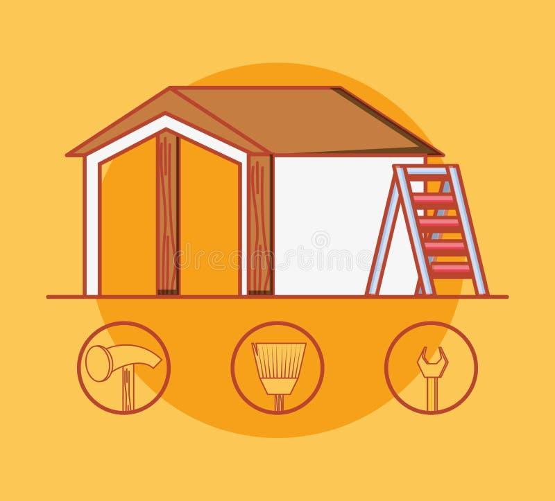 Husbyggnad med hem- reparationssymboler stock illustrationer