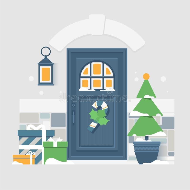 Husdörrgarnering för julferierna royaltyfri illustrationer