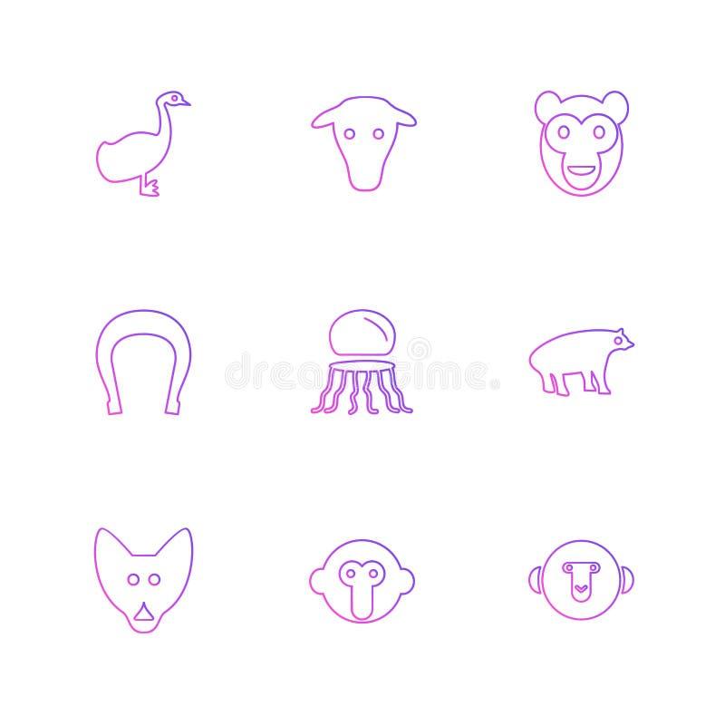 husdjur djur som var lösa, fåglar, kryp, eps-symboler, ställde in vektorn royaltyfri illustrationer