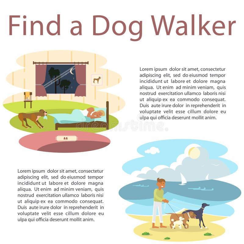 Husdjur och hans ägare vektor illustrationer
