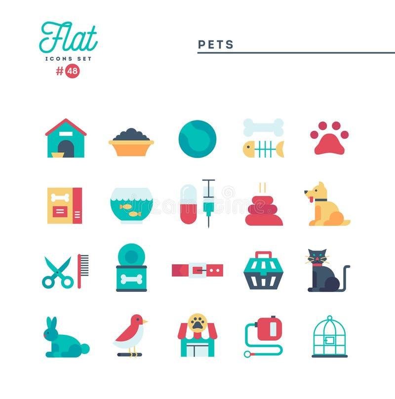 Husdjur plan symbolsuppsättning stock illustrationer