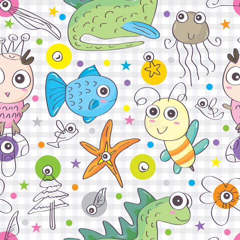 Husdjur skraj sömlösa Pattern_eps vektor illustrationer