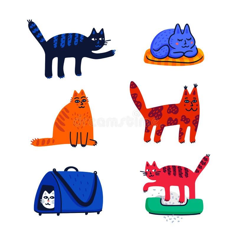 Husdjur som ansar begrepp Ställ in av tecknad filmkatter med olik kulör päls och teckning som står sitta eller gå Kattomsorg stock illustrationer