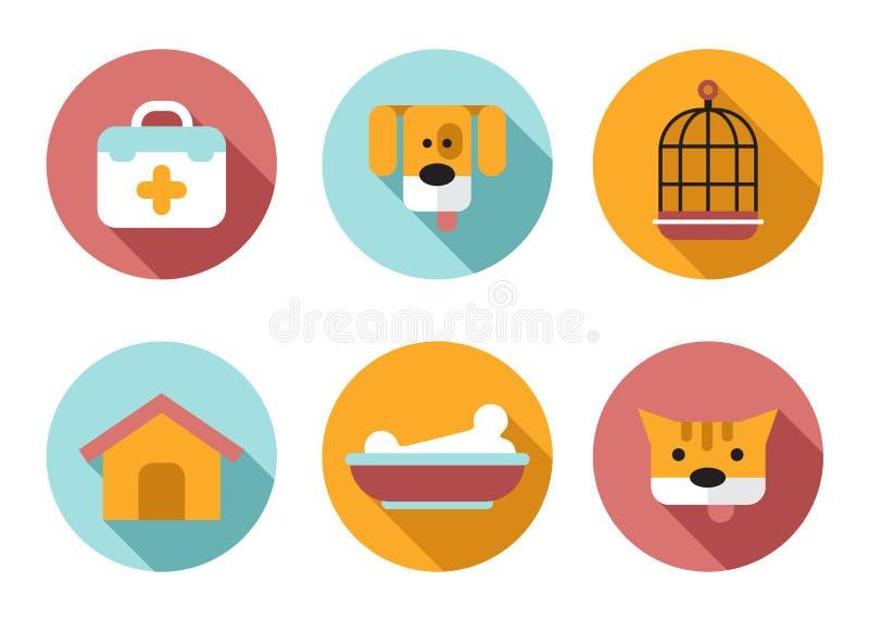 Husdjuret för rengöringsduksymbolsuppsättningen, veterinären som är älsklings- shoppar stock illustrationer