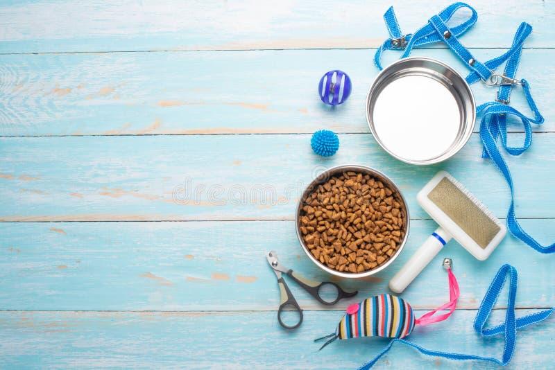 Husdjuret, katten, mat och tillbehören av kattlivlägenheten lägger, med utrymme för design arkivbild