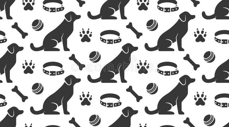 Husdjuret shoppar den sömlösa modellen för vektorn med plana symboler av den sittande hunden, förser med krage, tafsar, leksakbol vektor illustrationer