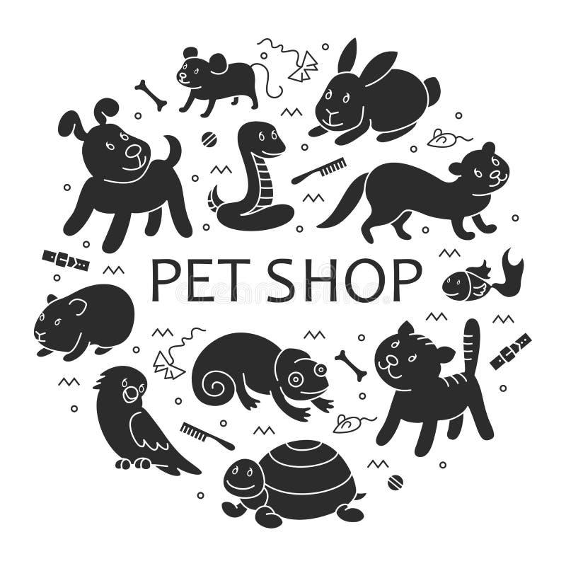 Husdjuret shoppar konturn i cirkelmall stock illustrationer