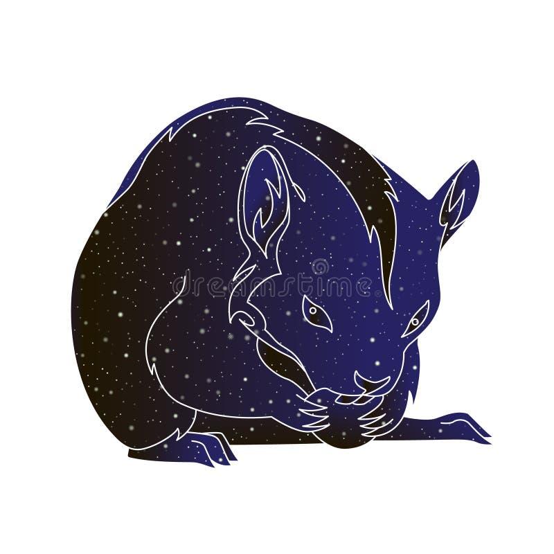 Husdjurgnagare Djur illustration för vektoröversiktshamster, kontur för färg för natthimmel som isoleras på vit bakgrund stock illustrationer