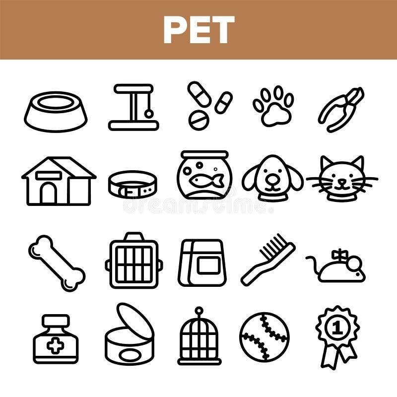 Husdjurlinje fastställd vektor för symbol Djur omsorg Ansa husdjursymbol Hund Cat Veterinar Shop Icon Tunn översiktsrengöringsduk stock illustrationer