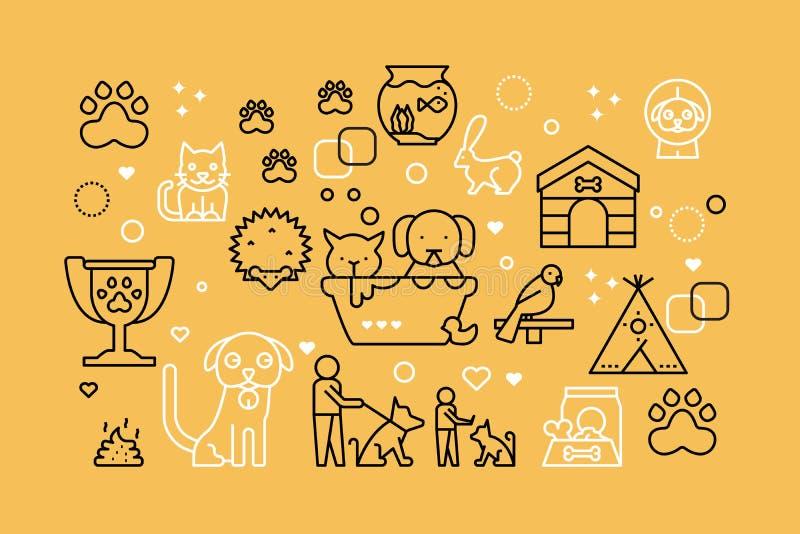 Husdjurlinje symbolsillustration stock illustrationer