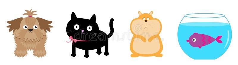 Husdjurlinje uppsättning Katt hund, fisk, hamster Gulliga den roliga tecknad filmkawaiien behandla som ett barn teckenet Vit bakg royaltyfri illustrationer