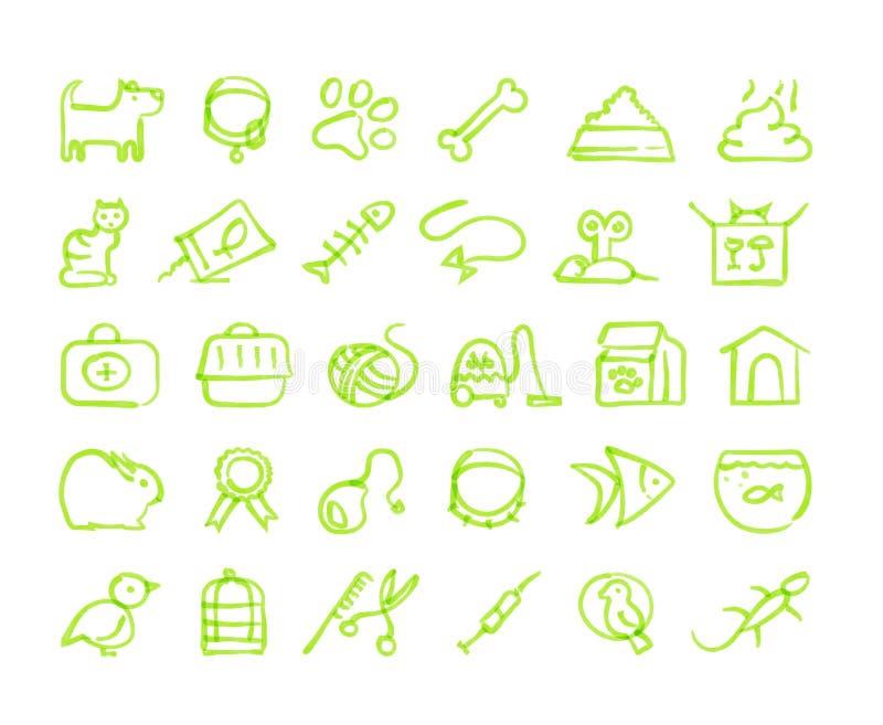 Husdjursymbolsuppsättning stock illustrationer