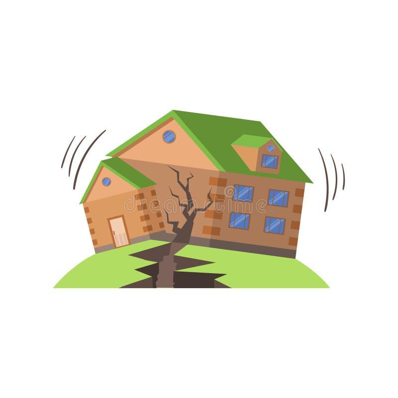 Huse in Aardbeving, Natuurverschijnselenbedreiging royalty-vrije illustratie