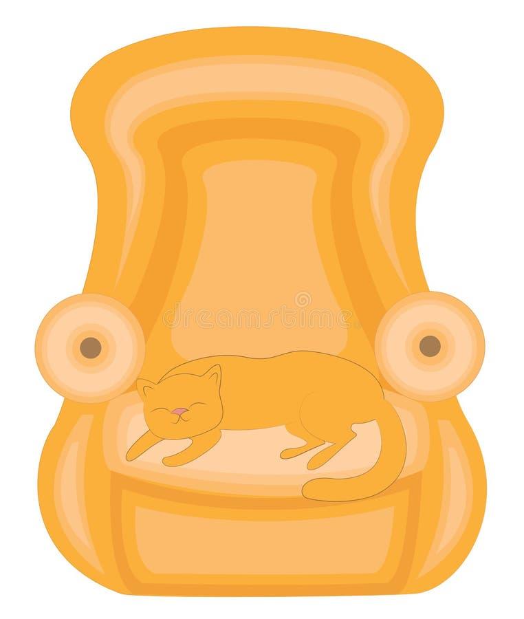 Huset är ett djur Röd gullig katt som sover på soffan Han ?r lycklig och ?lskad Stolen är mjuk och bekväm vektor royaltyfri illustrationer