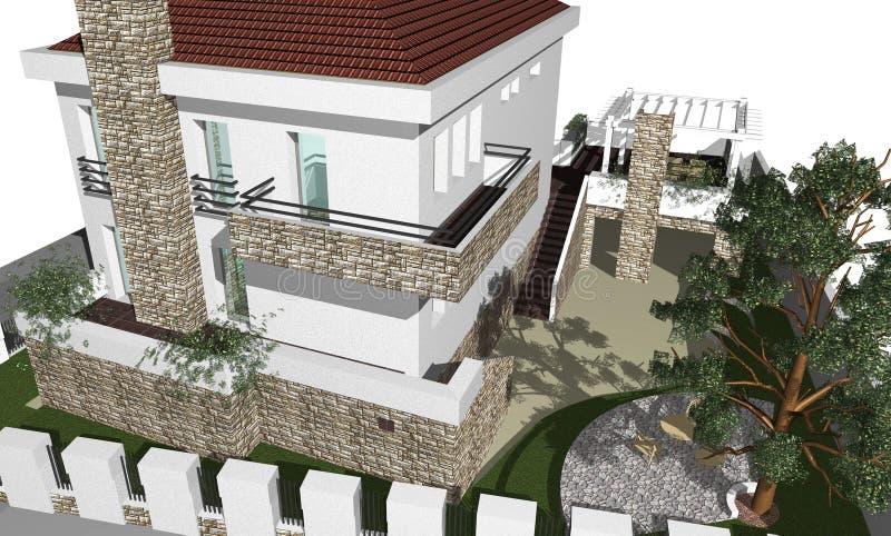 huset 3d framför vektor illustrationer