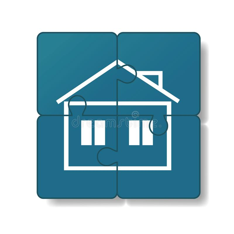 Huset byggs av pussel vektor illustrationer
