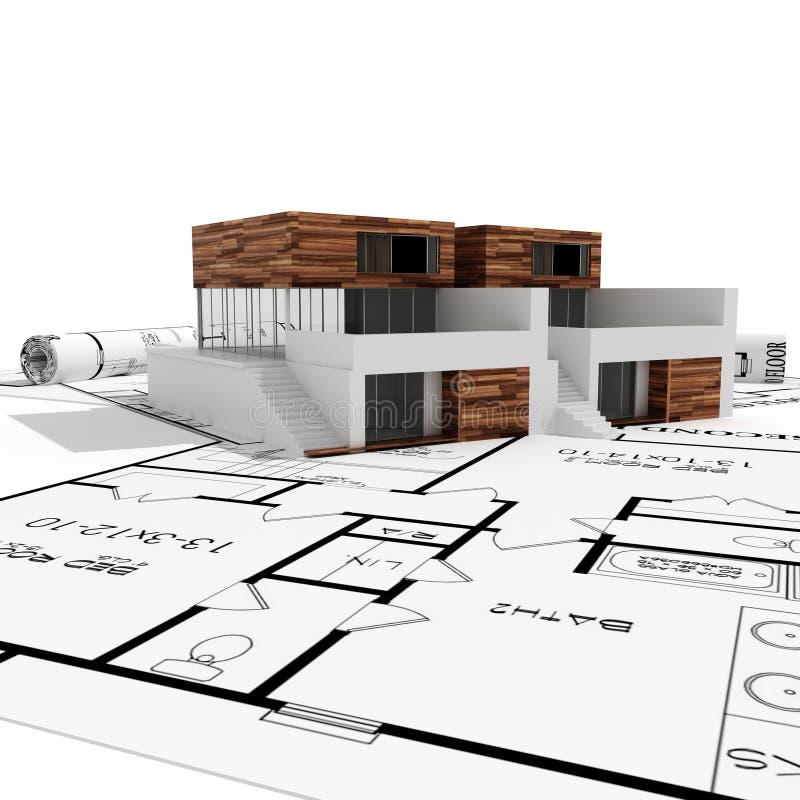 huset för ritningar 3d isolerade modern white stock illustrationer