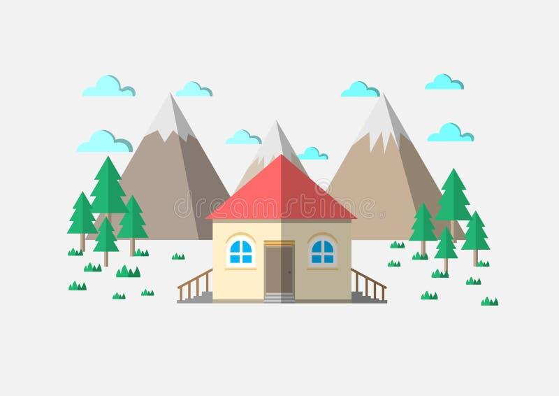 Huset med berget där är träd och moln vektor illustrationer