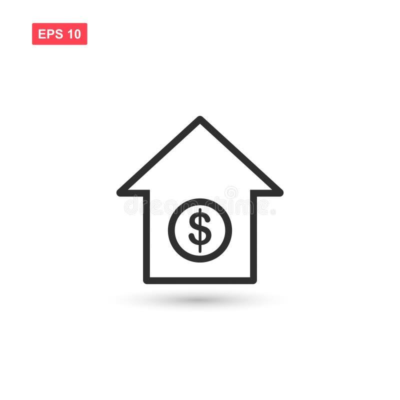 Huset med design för dollarsymbolsvektor isolerade royaltyfri bild