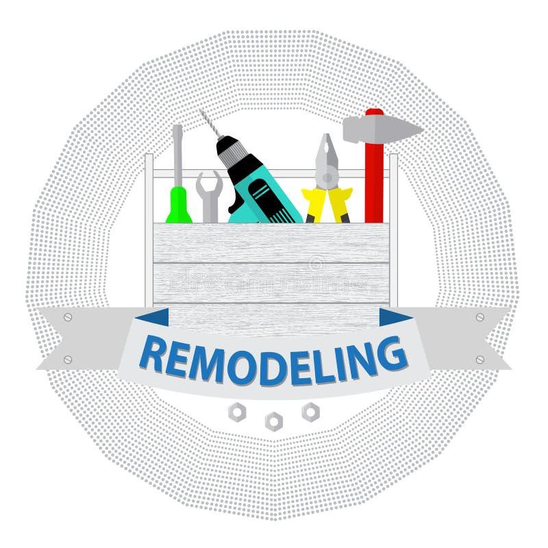 Huset omdanar hjälpmedel Hem- reparationsservice för logo Logo för husreparationsföretag stock illustrationer