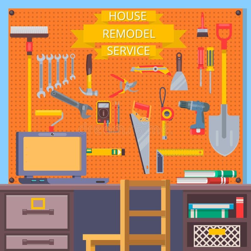 Huset omdanar hjälpmedel Konstruktionsbegrepp med plana symboler Plan vektorillustration stock illustrationer