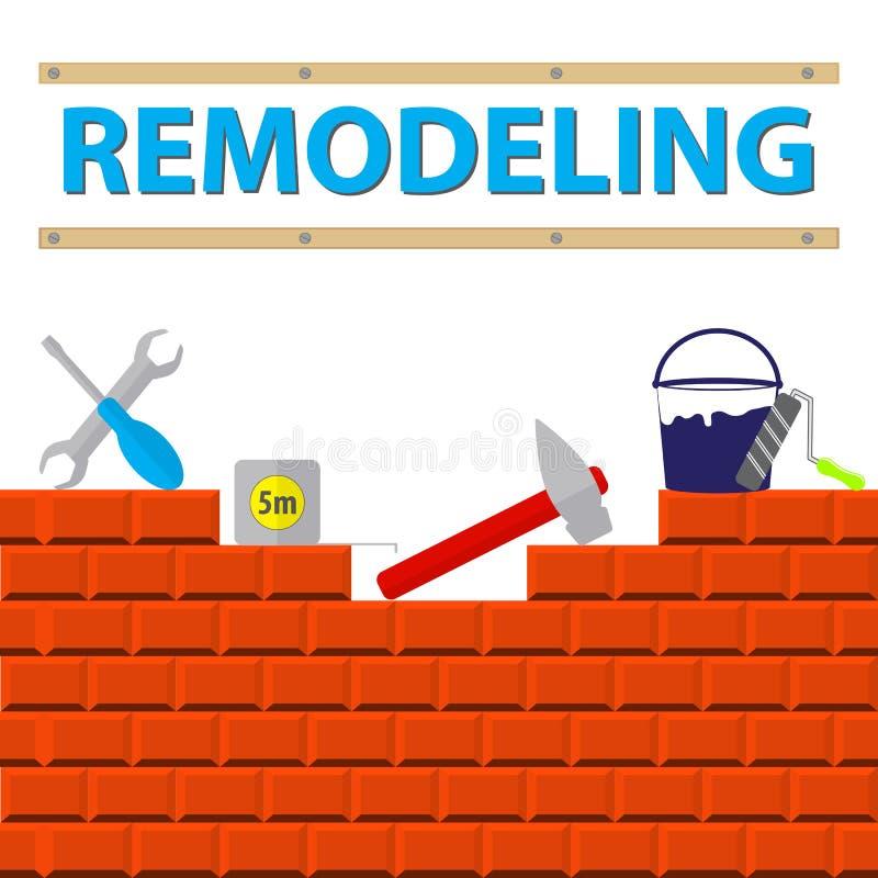 Huset omdanar hjälpmedel på tegelstenväggen Hem- reparationsservice royaltyfri illustrationer