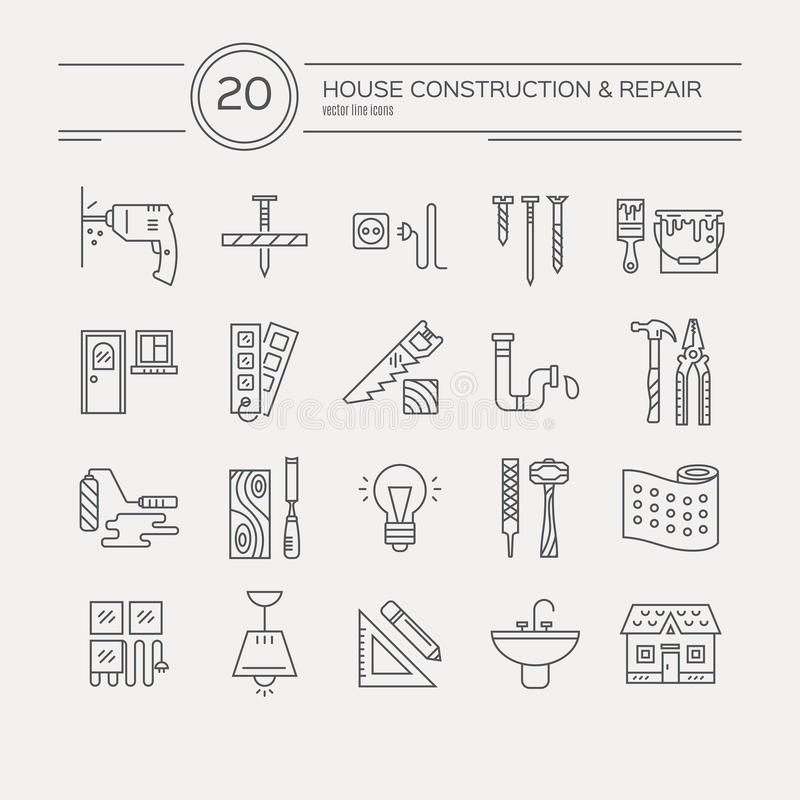 Huset omdanar symboler royaltyfri illustrationer