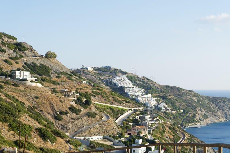 Huset på kullen av ön av Kreta fotografering för bildbyråer