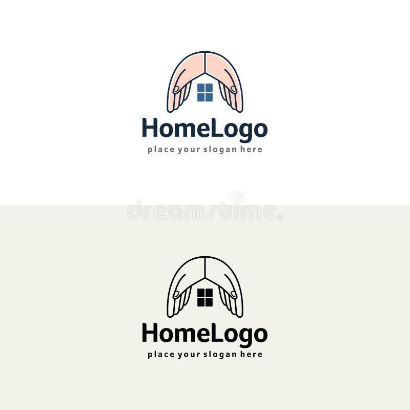 Huset räcker logo Försäkring- eller fastighetvektormall stock illustrationer