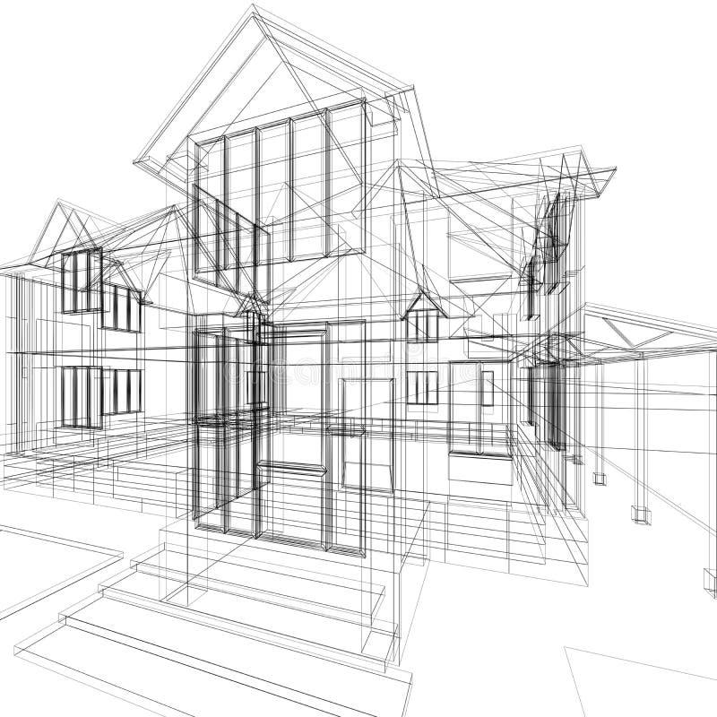 huset skissar vektor illustrationer