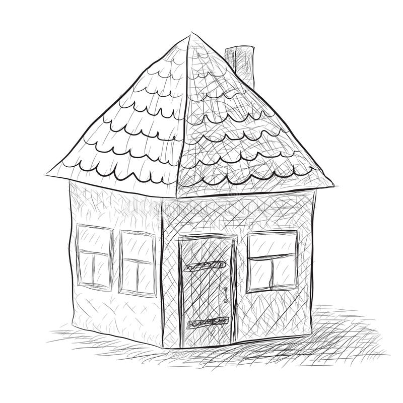 Huset skissar royaltyfri illustrationer
