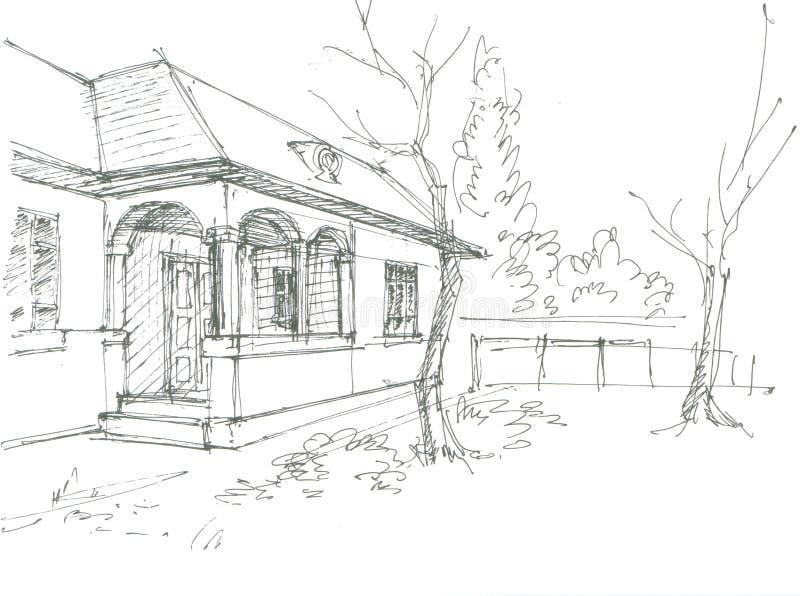huset skissar byn royaltyfri illustrationer