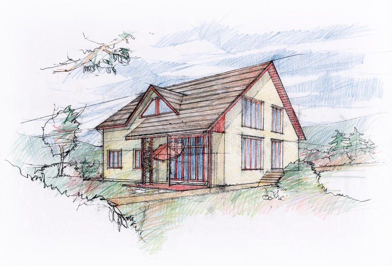 Huset skissar design vektor illustrationer