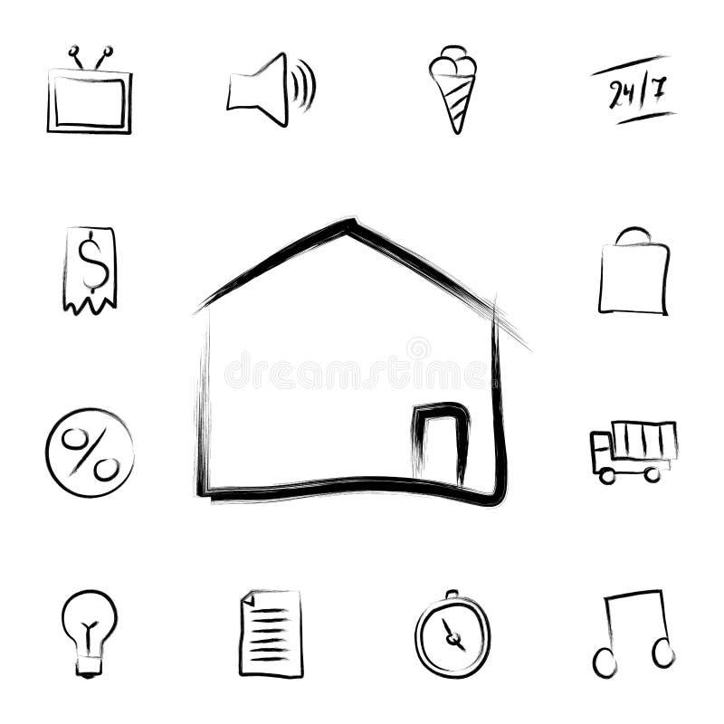 huset skissar stilsymbolen Den specificerade uppsättningen av att packa ihop in skissar stilsymboler Högvärdig grafisk design En  vektor illustrationer
