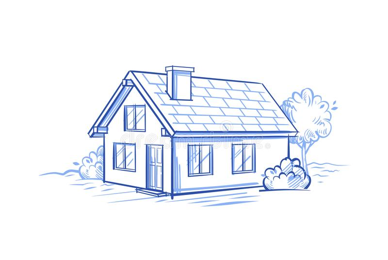 Huset skissar vektorn royaltyfri illustrationer