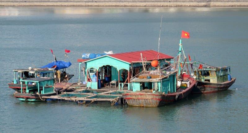 Husfartyget i mummel skäller länge nära den Cat Ba ön, Vietnam royaltyfria foton