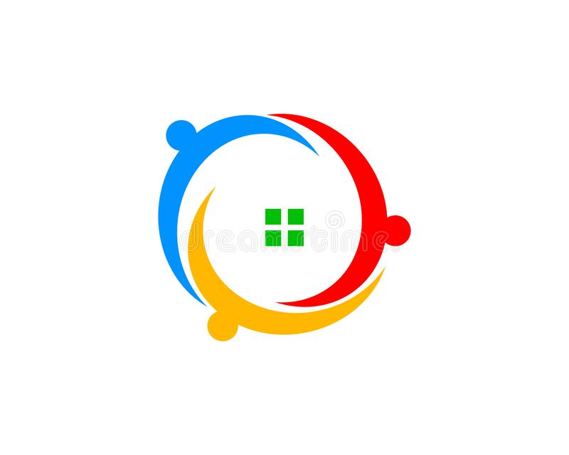 Husfolkgemenskap Logo Design Template royaltyfri illustrationer
