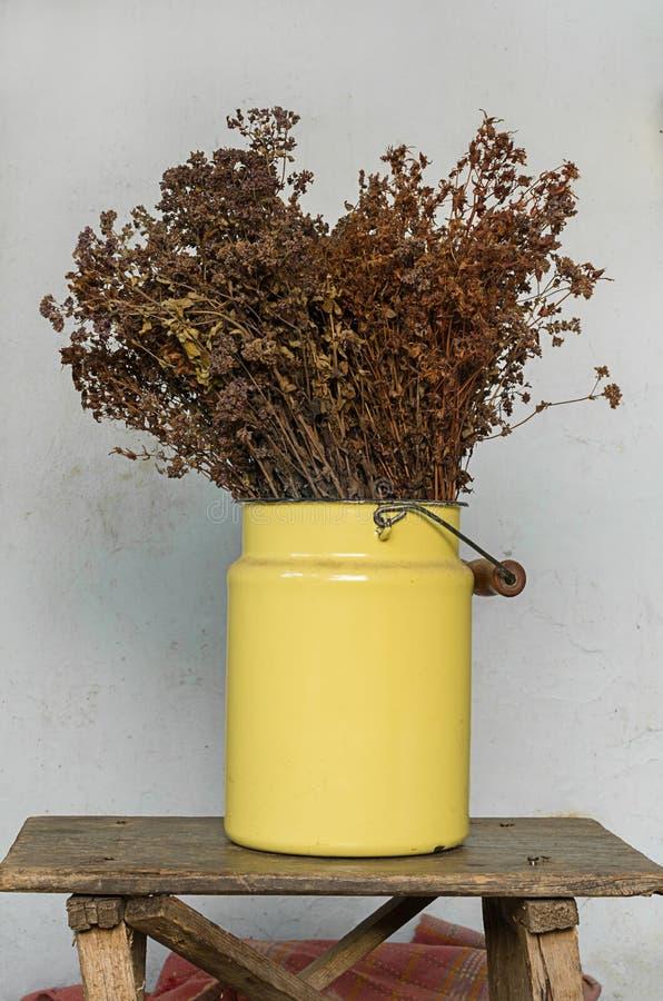 Husgarneringbegrepp: torkade ängblommor i en gul metall lägger in på gammal trästol med spikar att klibba ut arkivfoton