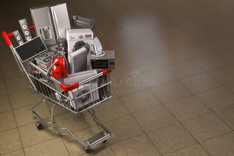 Hushållanordningar i den shoppa vagnen E-commerce eller online-shoppingbegrepp vektor illustrationer